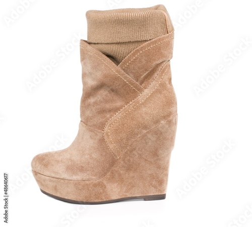 Stylish suede boot with integral legging