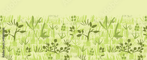 Vector paint textured green plants horizontal seamless pattern