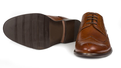 Elegant classic mens brown leather shoes