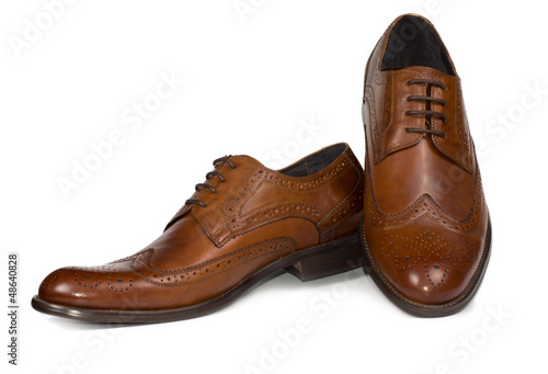 Stylish brown leather mens shoes - 48640828