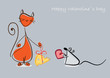 Happy Valentine. Red cat and mouse with gifts. Vector eps10