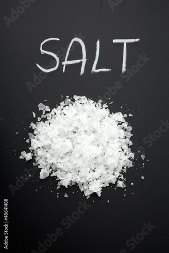 salt on black background