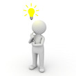 3d man thinking with idea bulb above his head over white