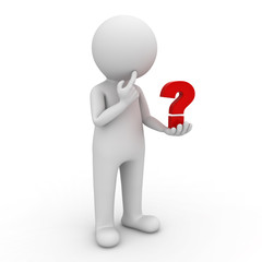 3d man looking at red question mark in his hand and thinking
