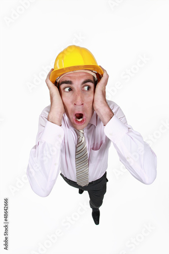 Horrified builder
