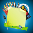 School blue background with note paper and place for text
