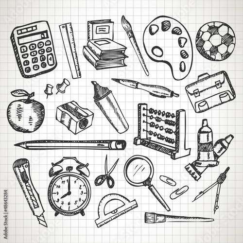 Set of hand drawn school supplies