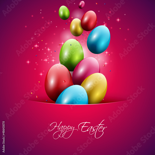 Colorful easter eggs flying out of pocket