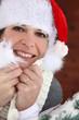 Woman in a Santa hat