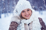 closeup beautiful happy woman winter portrait