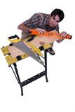 Carpenter working a plank.