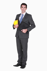 Smart businessman holding folder