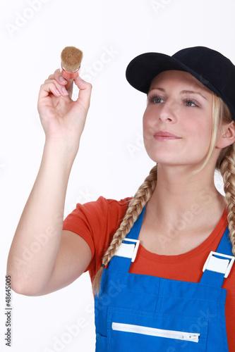 Blond female decorator
