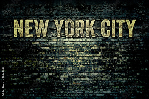 New York City Grungy Brick Wall - 48645060