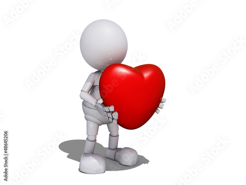 3d Human Character with Valentine's Heart