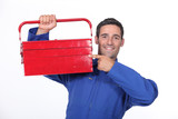 Man pointing to his toolbox