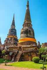 Buddhist stupa of Wat Yai Chaimongkon in Ayutthaya, Thailand.