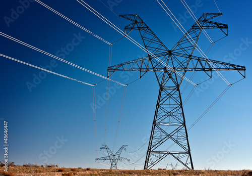 Leinwandbild Motiv High voltage power transmission towers