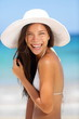 Beach woman smiling laughing