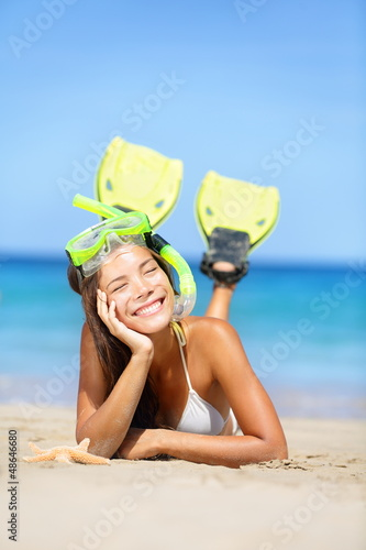 Woman on summer beach vacation holidays