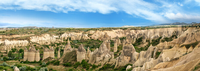 Panoramic view of Unique geological formations in the Cappadocia