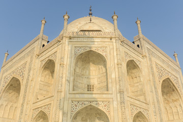 Taj Mahal Close Up on a Blue Sky Day
