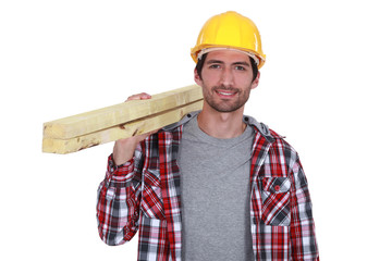portrait of a carpenter on white background