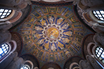 Ceiling Mosaic of the neoniano Baptistery in Ravenna