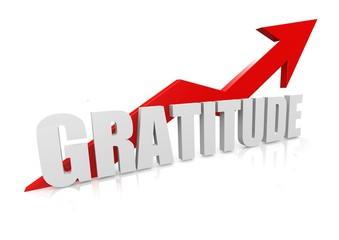 Gratitude with upward red arrow