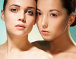 Clean beauty portrait of two women