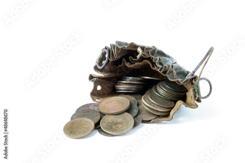 Coins in an old leather pouch