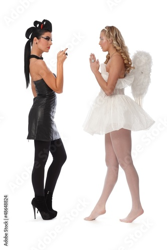 Devil and angel side view
