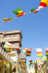 colorful flags in Mehrangarh Fort in Jodhpur, India