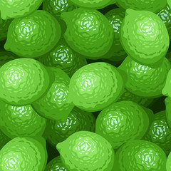Seamless background with limes. Vector illustration.