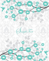 flower branch turquoise bridal shower invitation