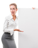 business woman with empty poster