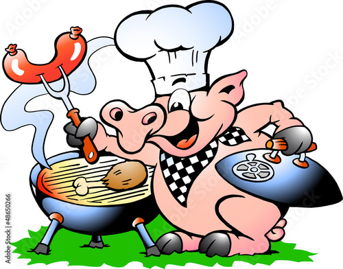 A Chef Pig standing and making BBQ