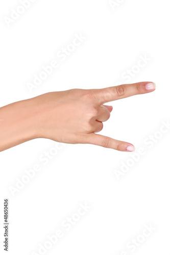 Hand making rock gesture