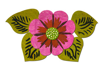 Flower-made-from-paper-recycled-on-white-background