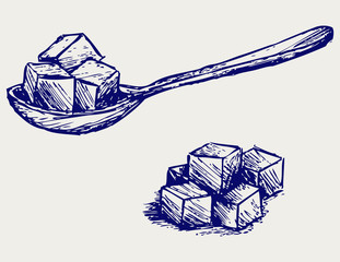 Refined white sugar. Doodle style