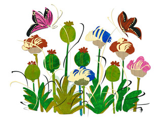 Springtime-flowers-and-butterflies,paper-recycled