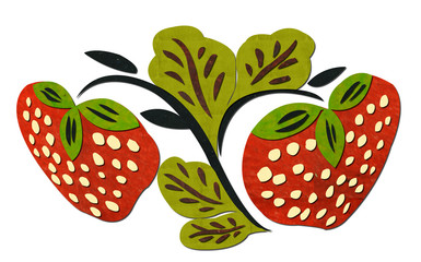 Strawberries-made-from-paper-recycled-on-white-background