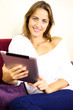 Very happy woman with tablet