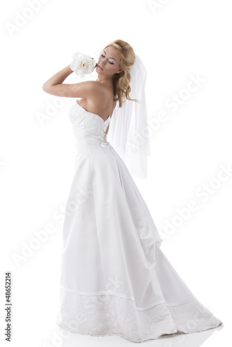 pretty blonde bride turned of three quarters