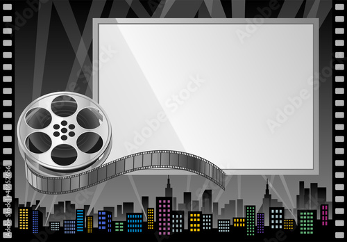 Film Reel and Theater Screen  Billboard