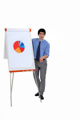 Man stood by flip-chart giving presentation