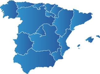 Karte von Spanien, Regionen
