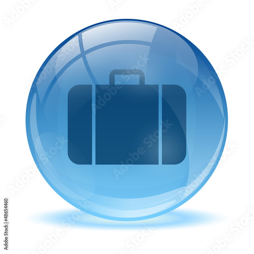 Blue abstract 3d business bag icon