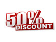 50 percentages discount red white banner - letters and block