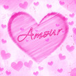 amour in striped heart on pink old paper